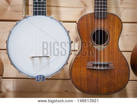 Banjo And Ukulele Close Up