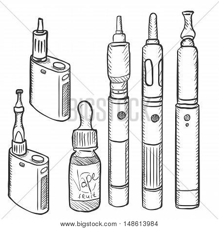 Vector Set Of Vape Devices. Electronic Cigarettes.