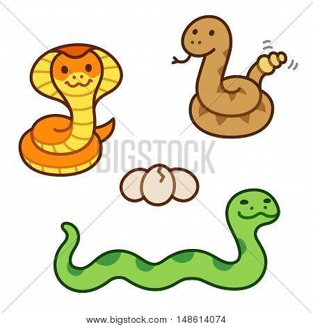 Cute cartoon snakes set. King Cobra Rattlesnake and Python isolated illustration.