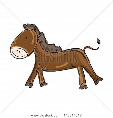 brown horse smiling animal cartoon. drawn design. vector illustration