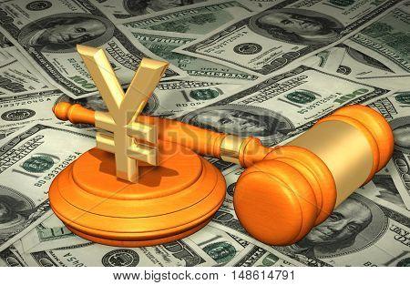 Yen Sign Symbol Legal Gavel Concept 3D Illustration