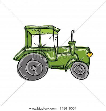 green farm tractor with big wheels. drawn design. vector illustration
