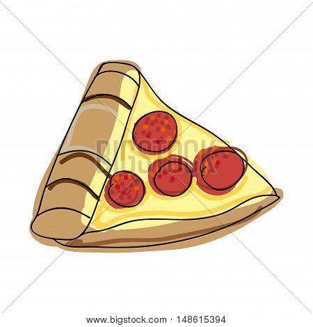 fast food pepperoni pizza. drawn design. vector illustration