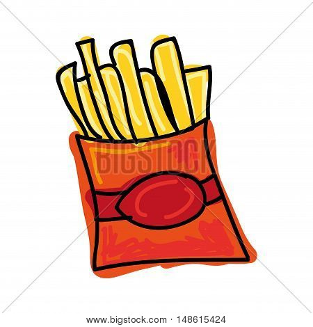red box of french fries fast food. drawn design. vector illustration