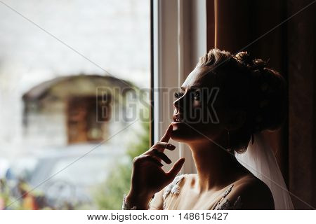 Young bride woman with pretty face covered with shadow in wedding veil touching chin by her hand on window background