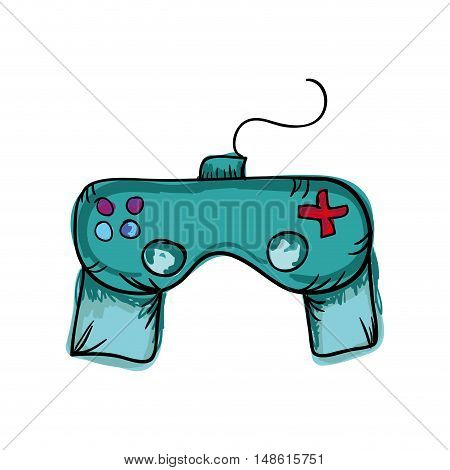control player videogame with joystick and buttons. drawn design. vector illustration