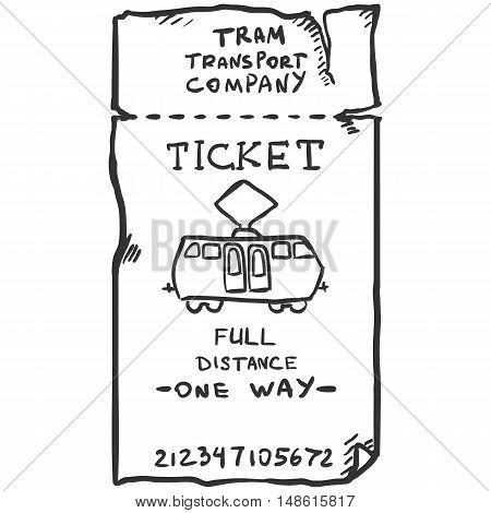 Vector Single Sketch Tram Ticket