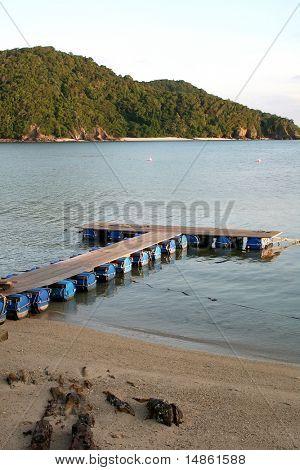 Makeshift floating docks on tropical ocean beachside