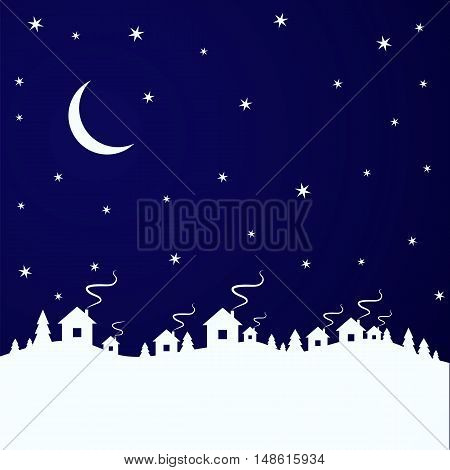 vector illustration. Winter background Christmas tree and houses in the village. Sky moon and stars.