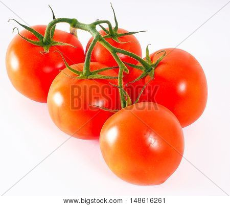 Tomatoes In Group, With Green Stem