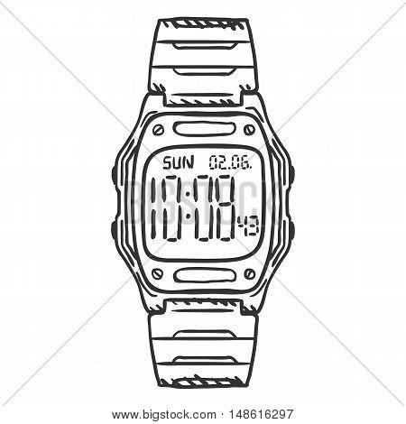 Vector Sketch Classic Digital Wrist Watch