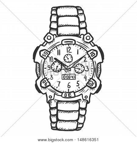 Vector Sketch Fashionable Mens Wrist Watch