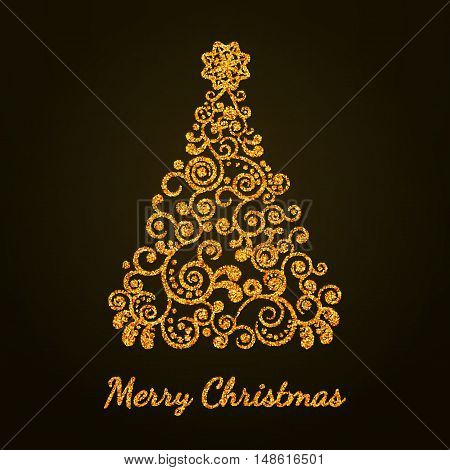 vector illustration. Festive background - gold Christmas tree decorated with curl ornaments with a star. The concept for the design of postcards posters booklets