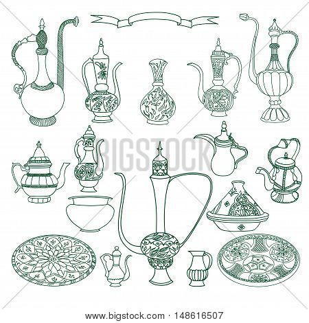 Vector set of arabic crockery. Oriental pottery dishes illustration on white background. Eid al Fitr. Ramadan. Eid al-Adha. Nowruz