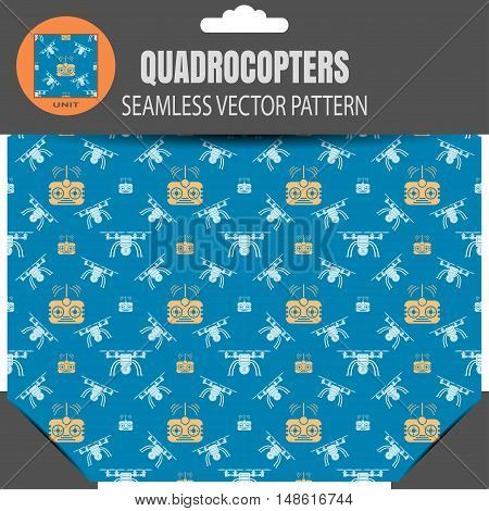 Vector seamless pattern of quadrocopters and remote controls on the dark blue background in package with pattern unit in the top.
