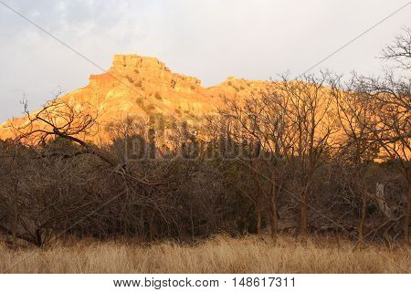 Sun sets over Palo Duro Canyon, Texas. Winter in the desert