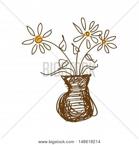 flower plant in a vase. natural blossom decoration. drawn design vector illustration