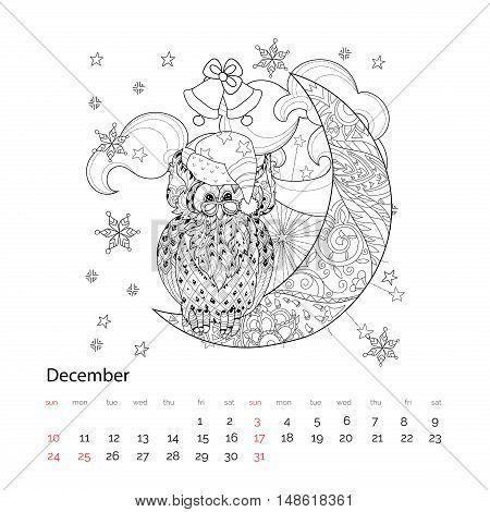 Cute Owl On Christmas Half Moon