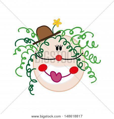 clown smiling face cartoon. hand drawn design. vector illustration
