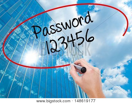 Man Hand Writing Password 123456 With Black Marker On Visual Screen