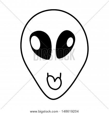 space alien head face cartoon. extraterrestrial character. vector illustration
