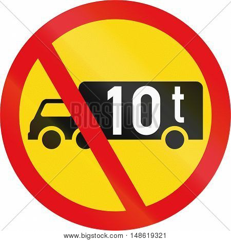 Temporary Road Sign Used In The African Country Of Botswana - Goods Vehicles Exceeding 10 Tonnes Pro