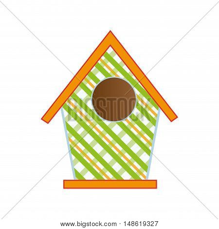 nesting box. bird house with orange roof. vector illustration