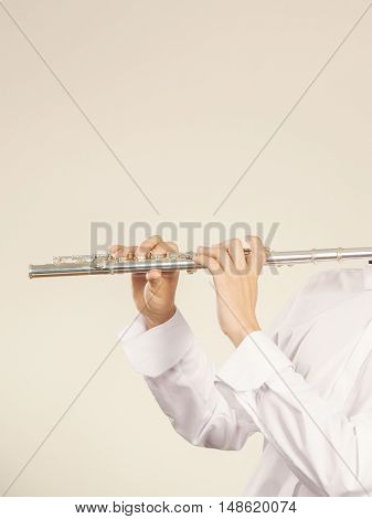 Flute Music Instrument In Hands Of Flutist Musician