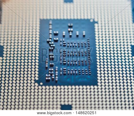 Computer CPU processor micro chip close up in details