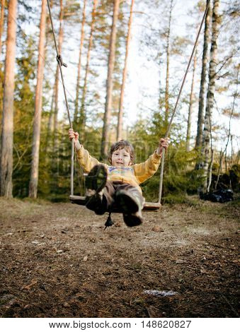 little cute happy smiling boy swinging in autumn wood, lifestyle people concept close up