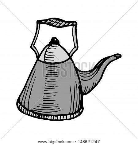 gray kettle pot kitchen utensil. drawn design. vector illustration