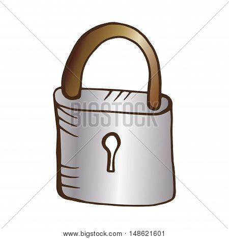 metal lock closed with keyhole. drawn design. vector illustration