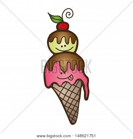 cute ice cream cone with smiling faces. vector illustration