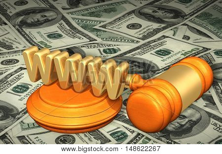 WWW Legal Gavel Concept 3D Illustration