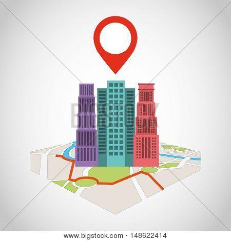 cityscape with gps service icon vector illustration design