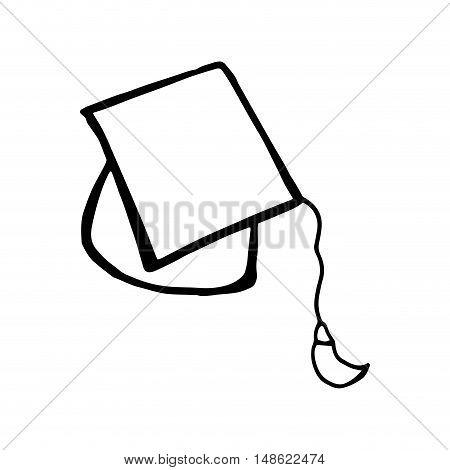student graduation hat. academy graduate achievement. vector illustration