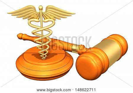 Caduceus Legal Gavel Concept 3D Illustration