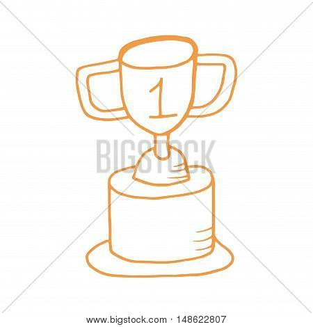 trophy cup. first place award. drawn design vector illustration