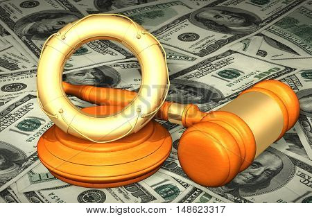 Life Buoy Legal Gavel Concept 3D Illustration
