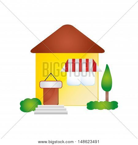 house residential property modern building with trees. vector illustration