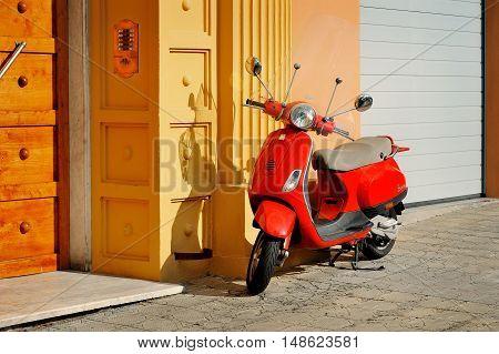 Genova, Italy - August 17, 2016 Vespa LX 50 - iconic Italian scooter