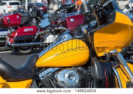 York PA - September 23 2016: Close Up of yellow cycle parked at the annual Harley-Davidson Factory Open House.