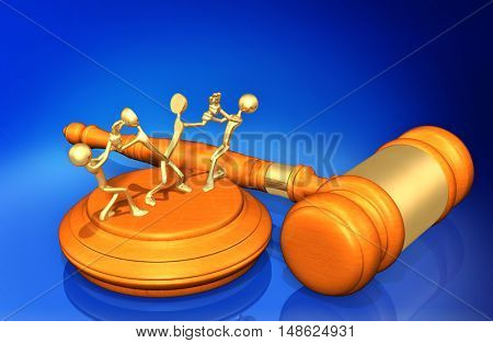 Pulled Apart Legal Gavel Concept 3D Illustration
