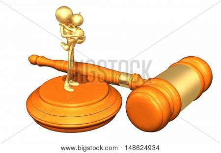 Father And Child Legal Gavel Concept 3D Illustration