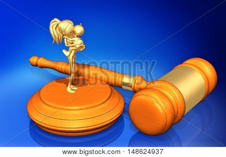 Mother And Child Legal Gavel Concept 3D Illustration