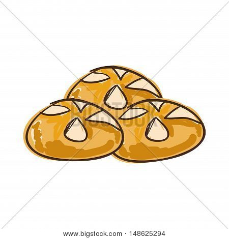 bread baked  bakery food product. drawn design. vector illustration