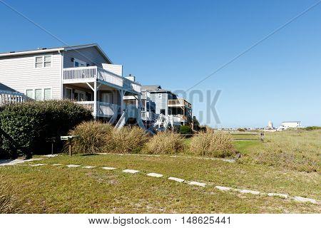 Luxury beach houses along the dunes; Sunset Beach, North Carolina