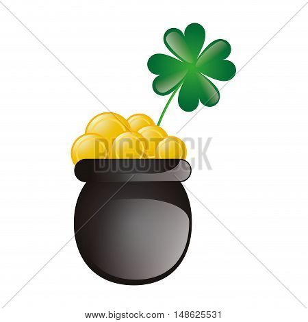 lucky green clover plant and pot with gold coins. irish symbol. vector illustration