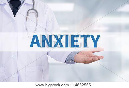 ANXIETY Medicine doctor hand working Doctor work hard