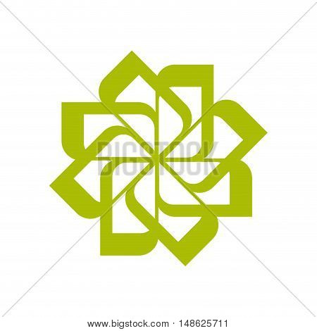 green flower symbol. enviromental corporate emblem. vector illustration